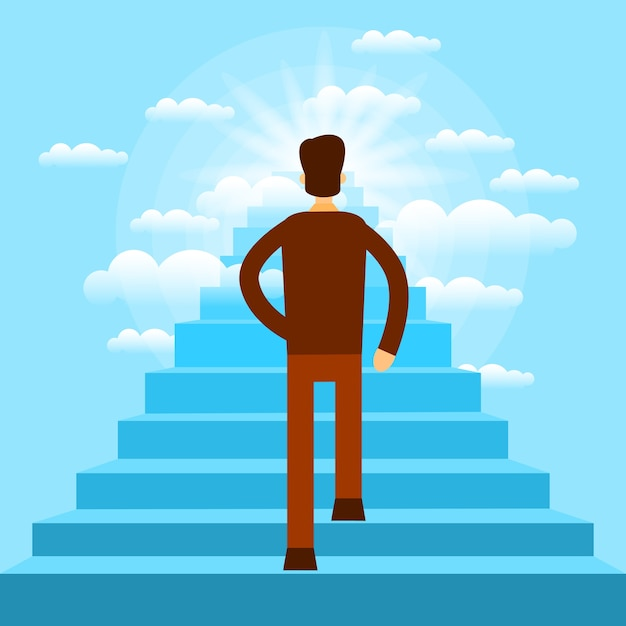 Businessman walking up stairs to sky business man Premium Vector