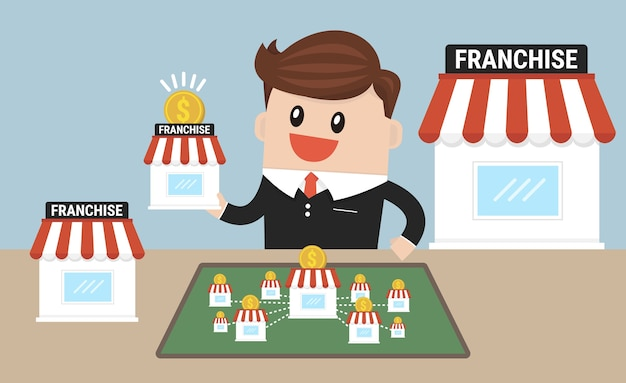 Businessman want to expand his business Premium Vector
