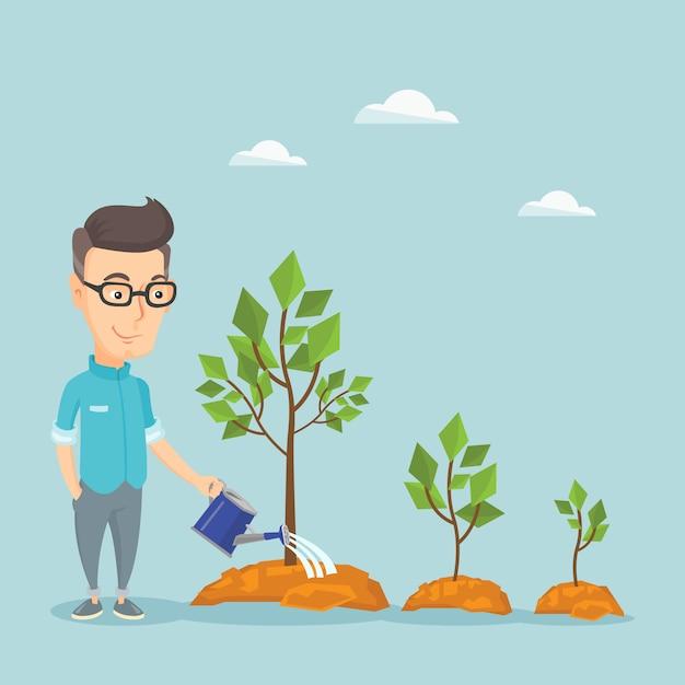 Businessman watering trees illustration. Premium Vector