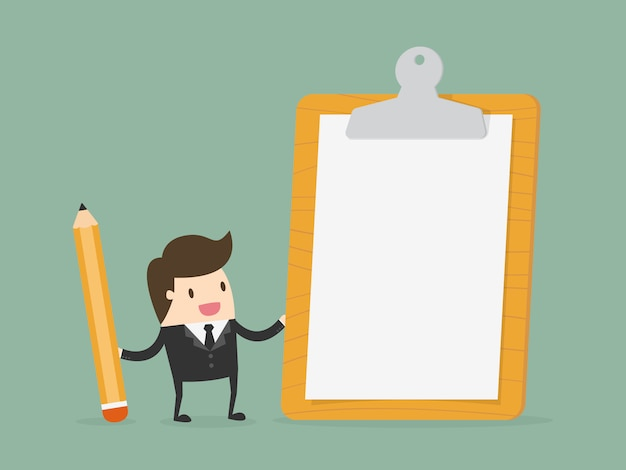 Businessman with a clipboard Free Vector