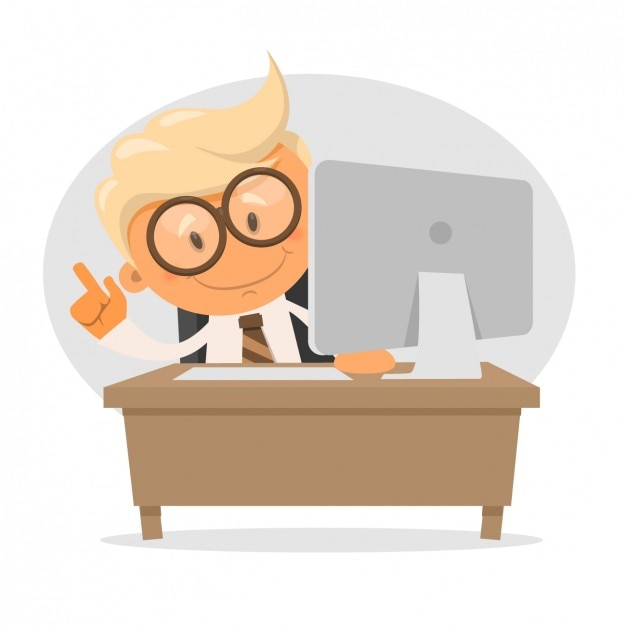Businessman with a computer Free Vector