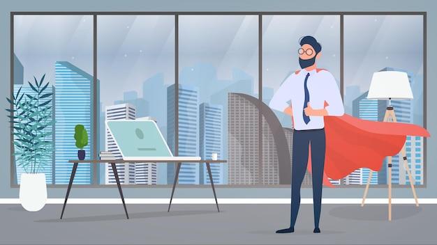 赤いマントを持つビジネスマン。上司は彼のオフィスにいます。リーダー、スーパーヒーローのコンセプト。起業家はクラスを示しています。 Premiumベクター