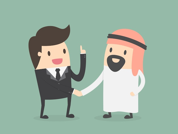 Businessman with a sheikh Free Vector