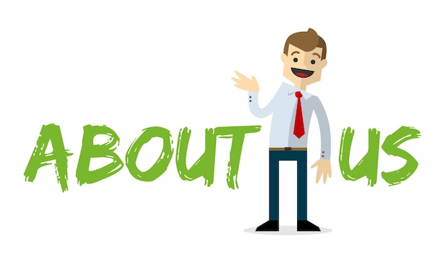 Businessman with about us text Premium Vector