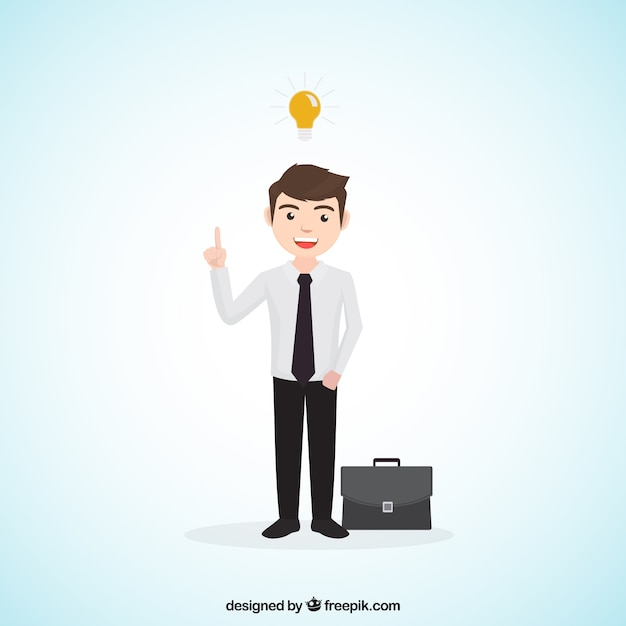 Businessman with an idea and briefcase