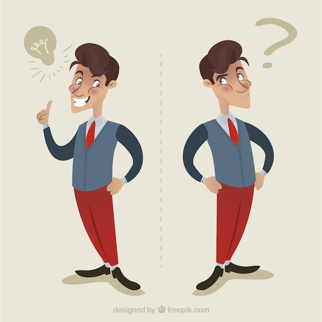 Businessman with an idea in retro style Free Vector