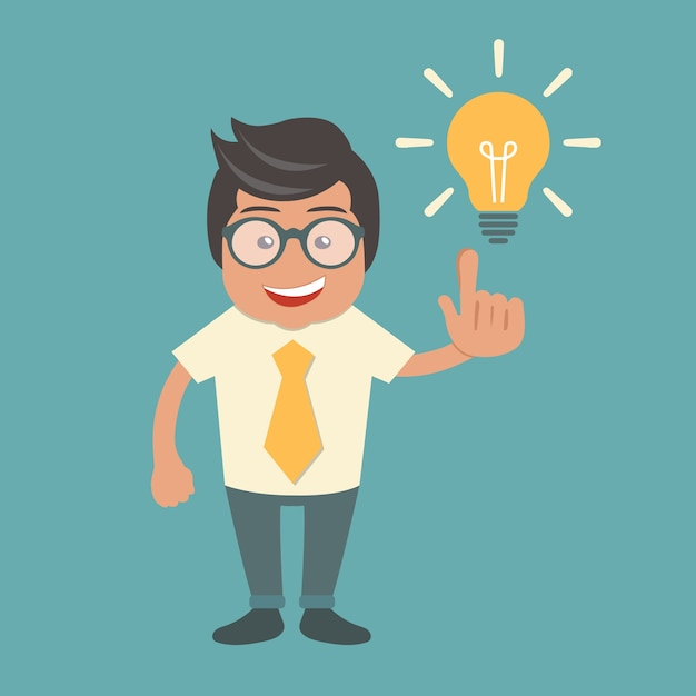 Businessman with an idea Free Vector