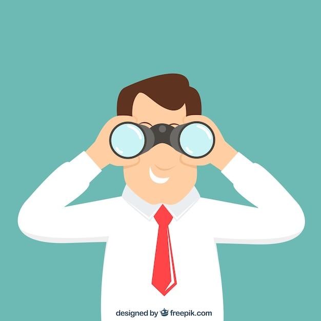 Businessman with binoculars Free Vector