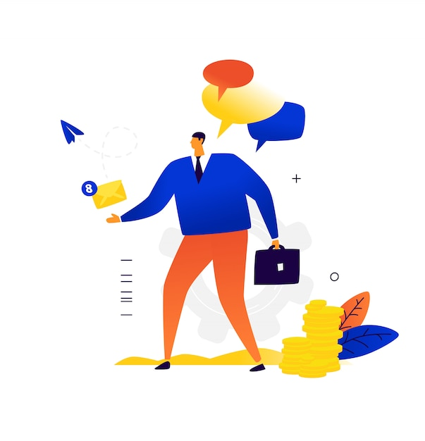 A businessman with a briefcase sends and receives a letter. business correspondence and contacts with business partners. Premium Vector