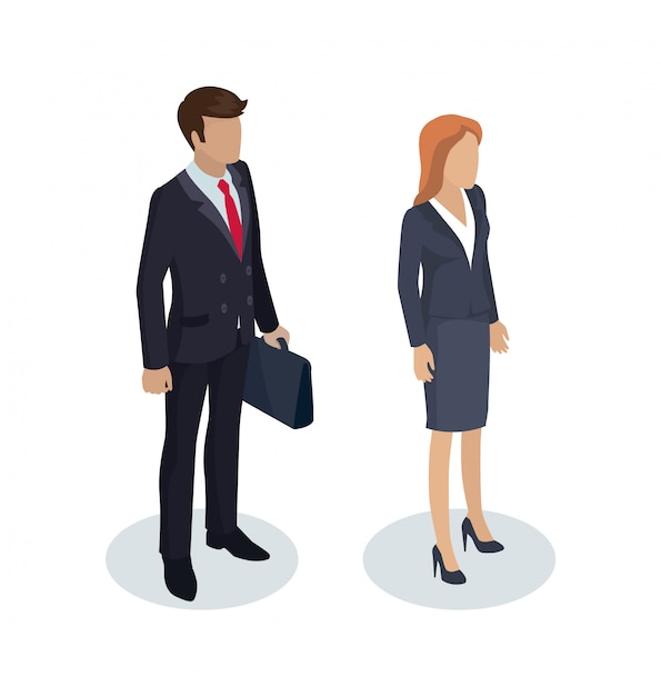 Businessman with briefcase set Premium Vector