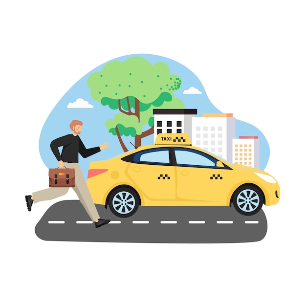 Businessman with briefcase trying to catch yellow taxi cab, flat  illustration Premium Vector