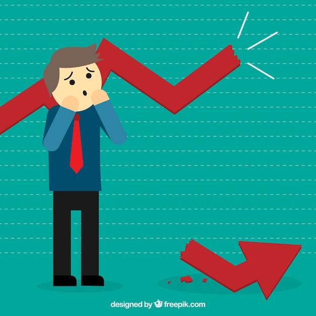 Businessman with a broken statistics Premium Vector
