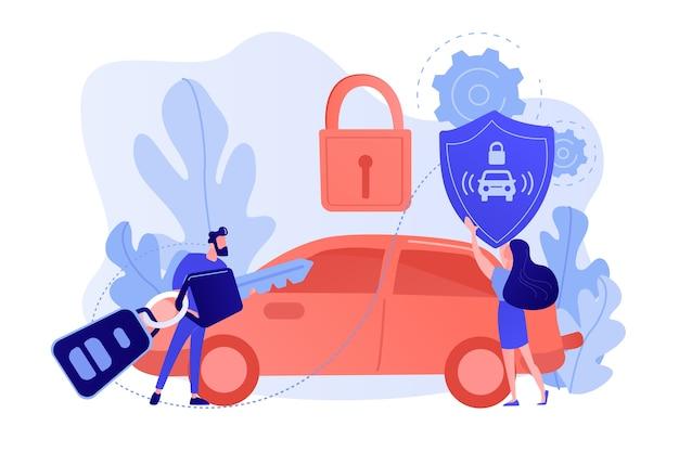 車のリモートキーを持つビジネスマンと南京錠付きの車でシールドを持つ女性。カーアラームシステム、盗難防止システム、車両盗難統計の概念 無料ベクター