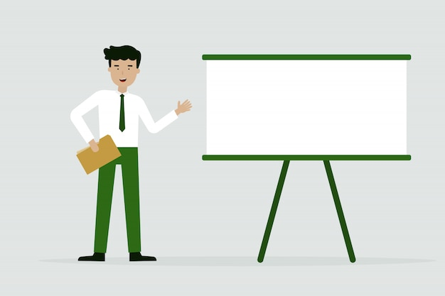 Businessman with chart presentation Premium Vector