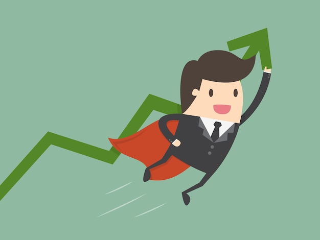 Businessman with a chart Free Vector