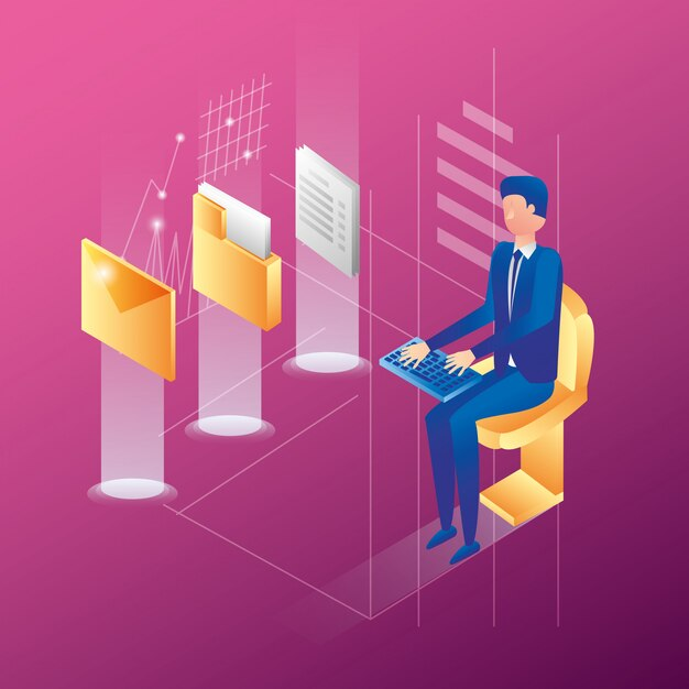 Businessman with data center network icons Premium Vector
