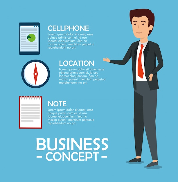 Businessman with document information Free Vector