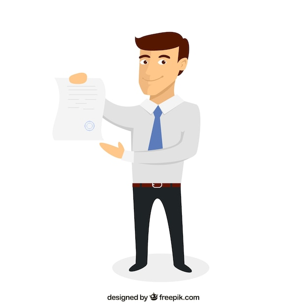 Businessman with a document Free Vector