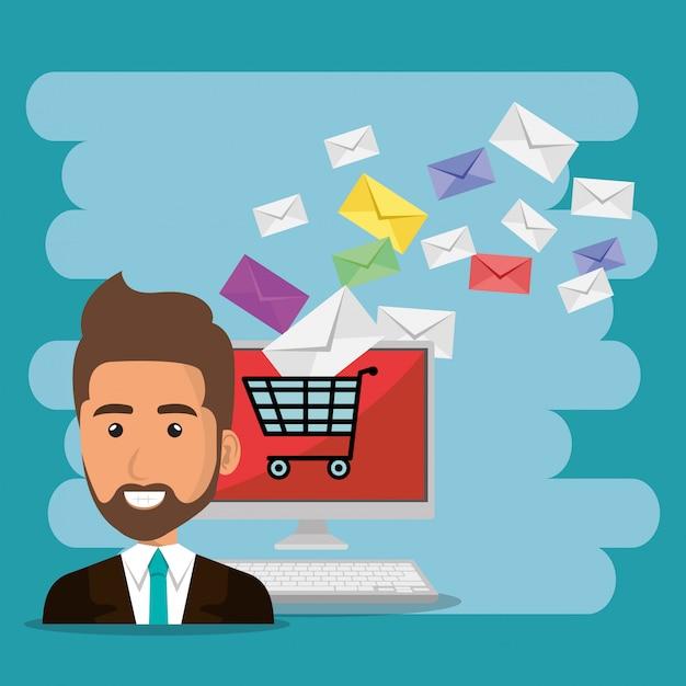 Бизнесмен с иконками маркетинга электронной почты Бесплатные векторы