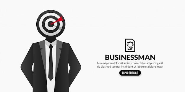 コピースペースと白い背景の上の頭ではなく目標ターゲットを持ったビジネスマン Premiumベクター