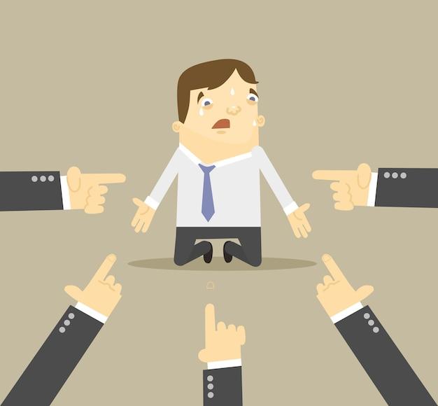 彼を指している手を持つビジネスマンフラットイラスト Premiumベクター