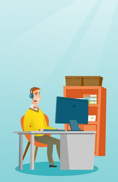 Businessman with headset working at office. Premium Vector