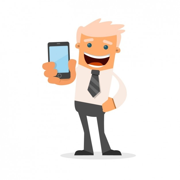 Businessman with his phone Free Vector