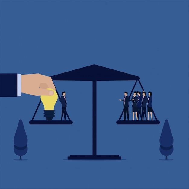 직원 가치의 팀은 유와 동등한 아이디어와 사업가. 프리미엄 벡터