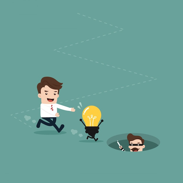 Businessman with idea light bulb Premium Vector