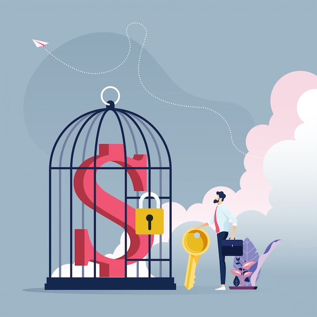 Businessman with key to unlock dollar sign in a bird cage - business concept Premium Vector