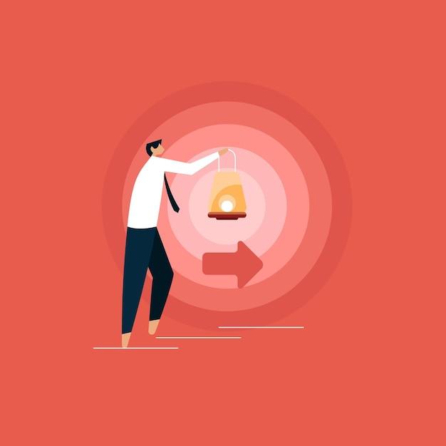 Бизнесмен с лампой идет, чтобы осветить свой путь, находя правильный путь Premium векторы