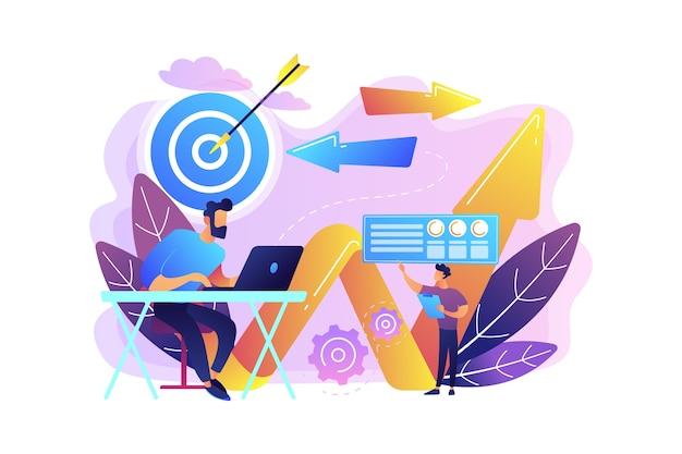 Бизнесмен с ноутбуком, целью и стрелами. бизнес-направление и стратегия, поворот и концепция кампании изменения направления Бесплатные векторы
