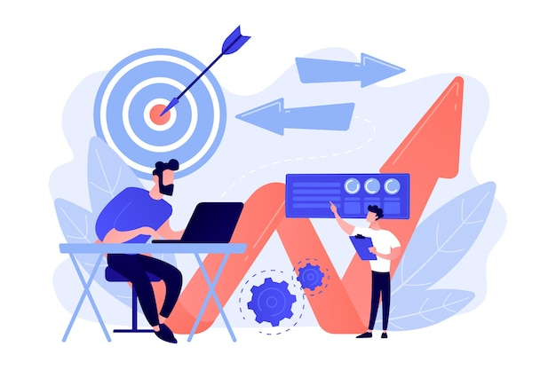Businessman with laptop, target and arrows. business direction, strategy and turnaround, change direction campaign concept on ultraviolet background. Free Vector