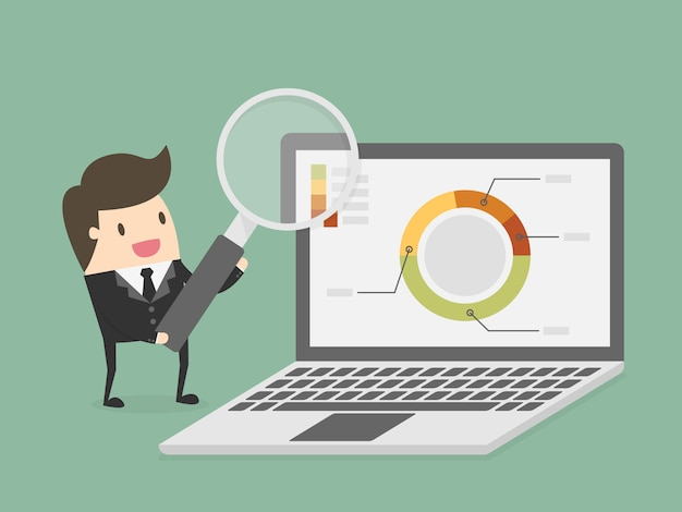 Businessman with a laptop Free Vector