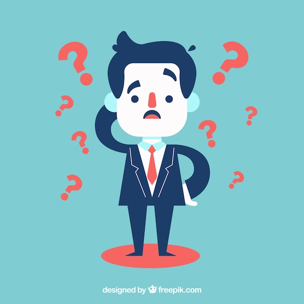 Businessman with a lot of doubts Free Vector