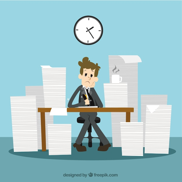Businessman with a lot of work Free Vector