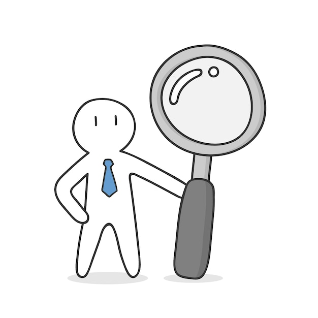 Businessman with magnifying glass Free Vector