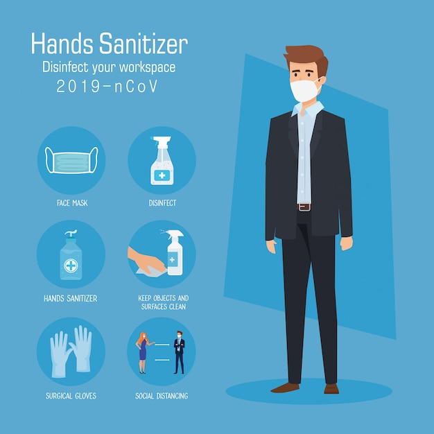 Businessman with mask and hands sanitizer prevention tips Premium Vector