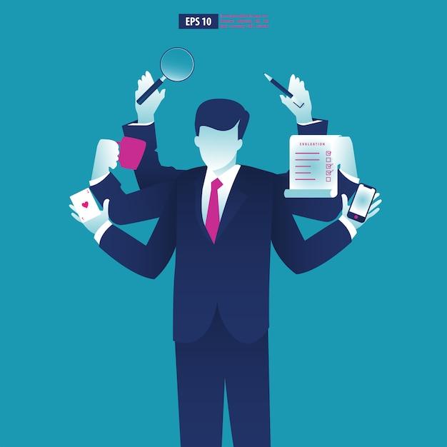 Businessman with multitasking and multi skill. Premium Vector