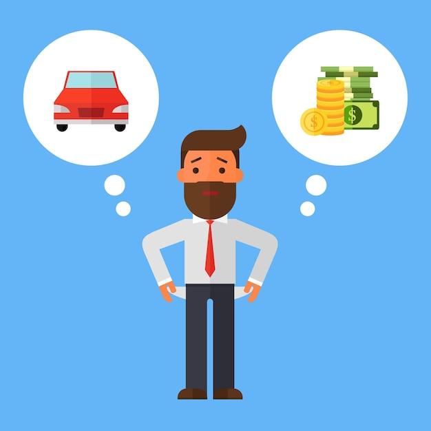Businessman with no money, bankrupt Premium Vector