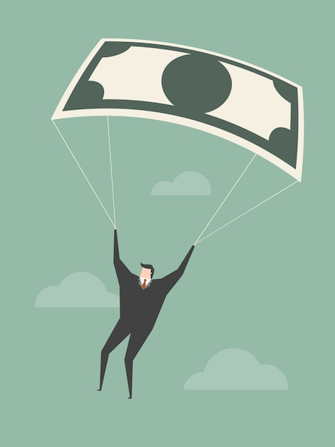 Businessman with a parachute Free Vector