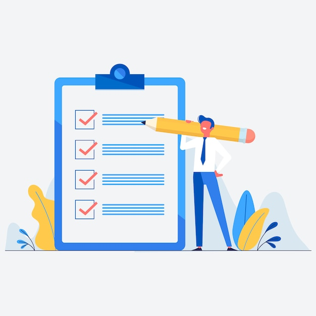 Businessman with pencil and check list illustration Free Vector