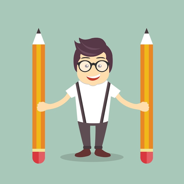 Businessman with pencils Free Vector