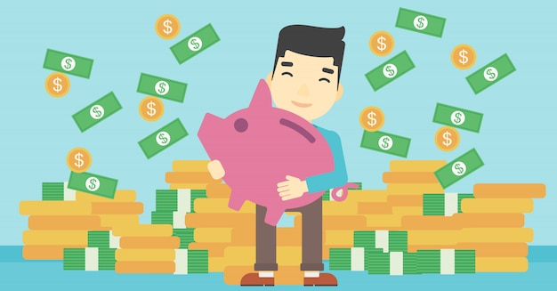 Businessman with piggy bank Premium Vector