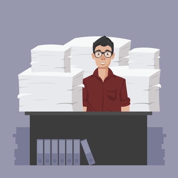 Businessman with pile of office papers and documents Premium Vector