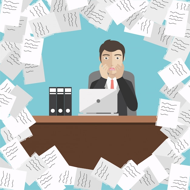 Businessman with pile of papers Free Vector