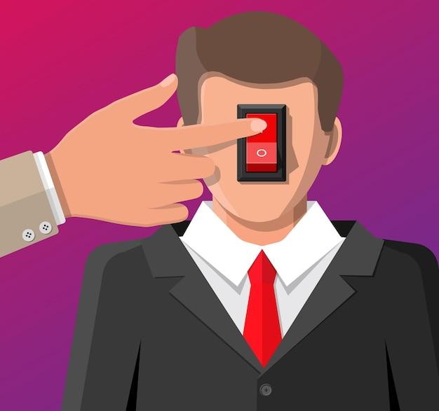 頭と手に電源スイッチを持つビジネスマン Premiumベクター