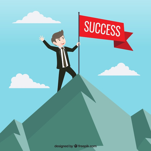 Businessman with red flag of success Vector | Free Download