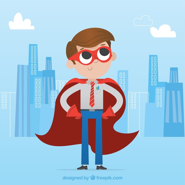 Businessman with red mask and cape Free Vector