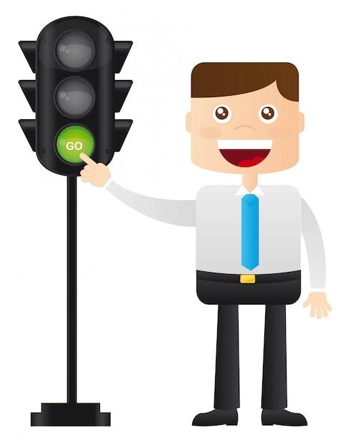 Businessman with semaphore over white background vector Premium Vector